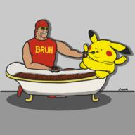 artist:Magestig bathtub beans game:pokemon_sword_&_shield hulk_hogan pikachu streamer:joel // 1200x1200 // 256.6KB