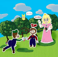 artist:CharlesMartinetsCousin game:paper_mario_the_origami_king luigi mario olivia peach streamer:vinny // 1393x1375 // 1017.3KB