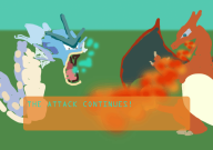 animated artist:jord charizard gyarados pokemon streamer:joel // 706x500 // 421.8KB