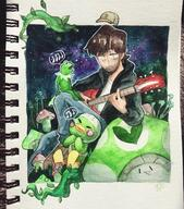 artist:sunfishy guitar kermit scoot streamer:vinny vineshroom watercolor // 1440x1640 // 648.1KB