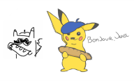 artist:dogeburger baguette french_pikachu game:pokedraw pikachu pokemon streamer:joel // 1244x760 // 108.6KB