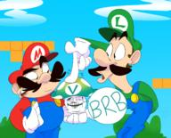 artist:feathersruffled brb luigi mario streamer:vinny vineshroom // 1462x1179 // 1.1MB
