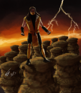 artist:growingobsession mortal_kombat scorpion streamer:joel // 1412x1616 // 2.6MB