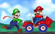 artist:cumbervanna corruptions game:Mario_Kart_Double_Dash luigi mario speed_luigi streamer:vinny // 1450x900 // 870.6KB