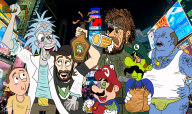 artist:el_papi_chulo_ beer luigi mario metal_gear_solid ralph_bluetawn rick_and_morty streamer:vinny vinesauce // 1600x950 // 2.0MB