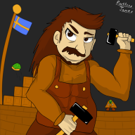 artist:reckless_james game:super_joel_bros game:super_mario_bros goomba hack hammer mario streamer:joel super_mario_bros // 1200x1200 // 383.6KB