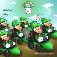 4th_anniversary game:mario_kart_7 luigi mario_kart vineshroom // 1500x1500 // 1.5MB