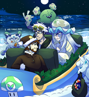 alolan_ninetales alolan_persian christmas game:pokemon game:pokemon_moon garbodor guzma lusamine ninetales oreos persian streamer:vinny vinesauce // 1093x1199 // 1.1MB