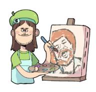 artist:tinycakes bob_ross bobnut game:Bob_Ross_64 streamer:joel // 843x808 // 93.1KB