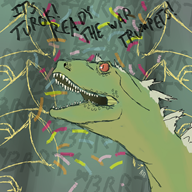 color digital dinosaur raptor streamer:vinny text toot trumpet // 1500x1500 // 1.3MB