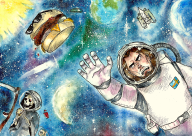 artist:etuperse burger game:kerbal_space_program space space_reaper streamer:joel watercolor // 1300x921 // 3.1MB