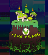 5th_anniversary anniversary artist:sharkbits birthday cake streamer:vinny vinesauce vineshroom // 816x928 // 632.6KB