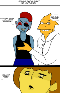alphys artist:widemandio game:undertale streamer:joel undyne // 700x1092 // 136.5KB