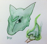 art artist:i_love_dix dix game:pokemon game:pokemon_moon i_love_dix_ marowak paint physical_media streamer:vinny traditional_art vinesauce watercolor // 1000x944 // 639.4KB