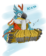 artist:pau_balmo game:the_legend_of_zelda_breath_of_the_wild kass rito streamer:vinny // 526x643 // 316.0KB