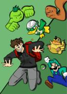 artist:TacoHam game:vinemon luigi meat scoot squagel streamer:vinny tomatomon // 483x679 // 202.0KB