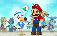 artist:8bitbeetle captain_southbird desertp game:animal_crossing_new_leaf game:super_mario_sunshine norix_wolfe streamer:vinny // 1280x800 // 1.3MB