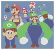 artist:MagolorEX game:Luigi's_Mansion game:Mario_Kart_Double_Dash game:super_mario_sunshine luigi mario streamer:vinny toad waluigi // 640x580 // 100.1KB