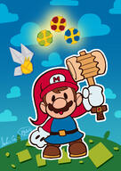 artist:spotulip game:paper_mario_the_origami_king game:wind_waker link mario streamer:vinny // 900x1274 // 640.7KB
