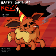 artist:putuk eevee game:pokemon_snap happy_birthday_rev pokemon streamer:revscarecrow // 1000x1000 // 235.5KB