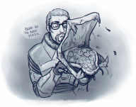 artist:kaimann game:black_mesa gordon_freeman half-life pizza streamer:joel // 1079x850 // 1.6MB