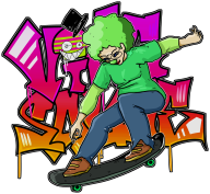 artist:cee clown_lady game:tomodachi_life skateboard streamer:vinny // 1452x1345 // 747.4KB