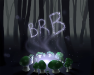 artist:meloncayke be_right_back brb forest stream streamer:vinny vineshroom // 1000x801 // 483.3KB