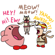 artist:zoshi captain_toad cat felyne game:captain_toad_treasure_tracker game:kirby_triple_deluxe game:monster_hunter_4_ultimate infernal_noises kirby monster_hunter streamer:vinny toad // 512x512 // 85.7KB