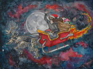 artist:acidicajoyou christmas holiday moon santa skeleton space streamer:joel // 1000x748 // 1.0MB