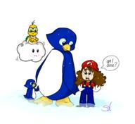 artist:skelenova blind_mario game:super_mario_64 lakitu mario penguin streamer:joel // 1719x1572 // 428.0KB
