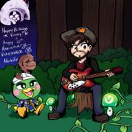 artist:Adorbsfox game:animal_crossing_new_horizons game:majora's_mask guitar meat scoot streamer:vinny vineshroom wizard_scoot // 2500x2500 // 1.8MB