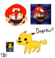 artist:thingybobinc corruptions game:super_mario_64 mario pikachu streamer:vinny // 1585x1663 // 465.5KB