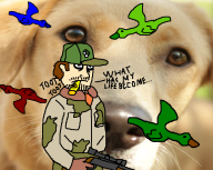 artist:buttbleedbill dog duck game:ultimate_duck_hunting kazoo shitty streamer:vinny // 849x677 // 265.4KB