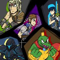 artist:Townnn_biz chrom dark_samus game:super_smash_bros._ultimate king_k._rool nintendo richter_belmont simon_belmont ssbu streamer:vinny // 1800x1800 // 1.7MB