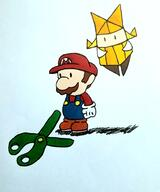 artist:Dooblanca game:paper_mario_the_origami_king green_streamer mario olivia scissors streamer:vinny // 1674x2009 // 1.4MB