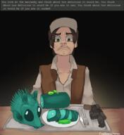 artist:Yoako food game:ai_dungeon gherkin greedo gun maclanky pickle star_wars streamer:vinny // 1442x1569 // 1.1MB