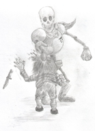 artist:lindwurm bone chara frisk game:undertale knife papyrus pencil streamer:joel // 761x1050 // 127.5KB