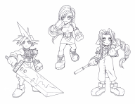 artist:ozkai cloud_strife game:final_fantasy_vii lineart traditional // 1036x800 // 351.3KB
