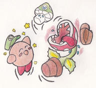 artist:anderym game:super_smash_bros_Ultimate happy kirby piranha_plant streamer:vinny vineshroom // 1062x980 // 809.9KB