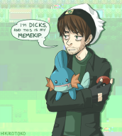 artist:hikikotoko corruptions game:pokemon_emerald mudkip streamer:vinny vinesauce // 500x555 // 199.3KB