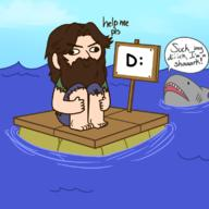 D: artist:linkstar21 game:raft give_him_the_succ help shark streamer:joel vargskelethor // 800x800 // 208.9KB