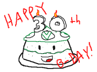 birthday cake flipnote streamer:vinny vinesauce vineshroom // 320x240 // 7.0KB