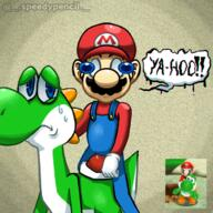 artist:speedypencil corruptions game:super_mario_galaxy_2 mario streamer:vinny yoshi // 1181x1181 // 2.3MB