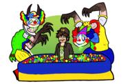 artist:suenden_hund ball_pit clown red_vox streamer:vinny vineshroom vomit // 1700x1080 // 690.2KB