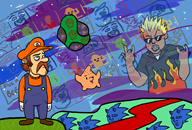 artist:alsatiable game:mario_galaxy_repainted guy_fieri sponge streamer:vinny vinesauce // 1881x1275 // 1.1MB