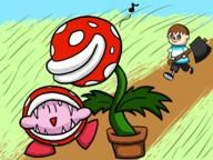 artist:BengoBongo14 game:super_smash_bros_Ultimate kirby piranha_plant streamer:vinny villager // 1600x1200 // 724.2KB