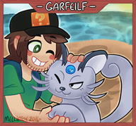 artist:melliefox artist:zeroliquid game:pokemon game:pokemon_moon garfeilf persian streamer:vinny // 1138x1061 // 1.1MB