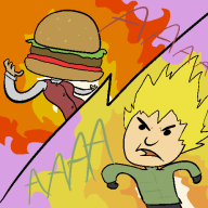 artist:icebrigade burg burger fighting fire game:tomodachi_life hamburger karl streamer:vinny tomodachi vinesauce // 500x500 // 20.7KB