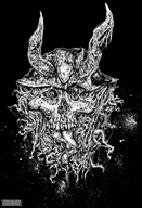 black_and_white ink mushroom skull streamer:joel vinemushroom // 686x1000 // 743.2KB